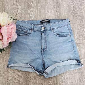 Express • Shortie High Rise Denim Shorts   Size 8